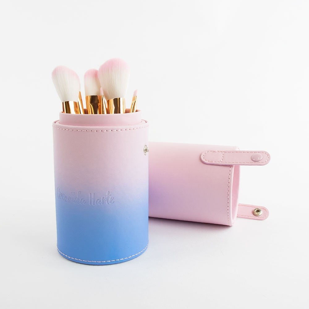 Cressida Harte Pink Ombre Brush Set with Tub Holder