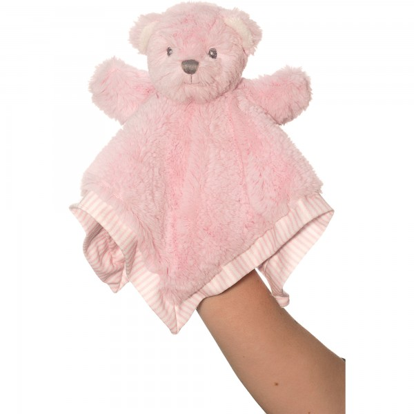 Hug-a-Boo Pink Finger Puppet Bear Blankie