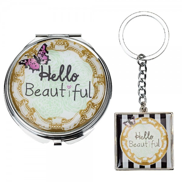 Hello Beautiful Compact Mirror and Key Ring Set