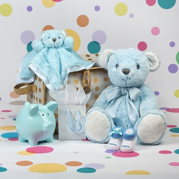 Baby Boy Hamper with Gold Spot Hamper