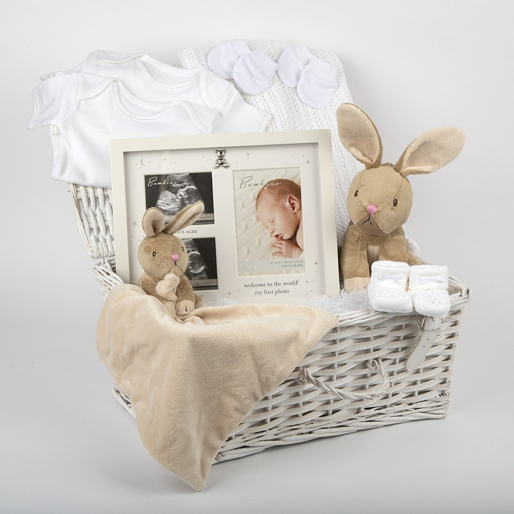 White Baby Hamper with Bobtail Bunny